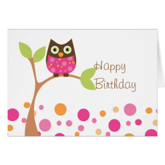 Bright Pink Baby Owl Card