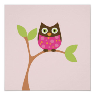 Bright Pink Baby Owl Posters