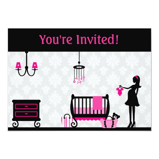 Bright Pink : Baby Shower : Invitation