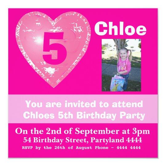 Bright Pink Birthday Invitations for Girls
