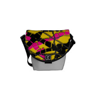 Bright Pink Black Abstract Commuter Bags