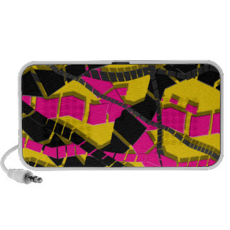 Bright Pink Black Abstract Travel Speakers