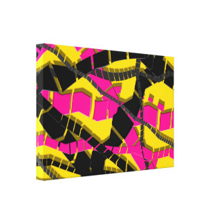 Bright Pink Black Abstract Stretched Canvas Prints