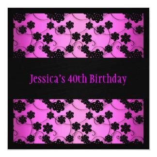Bright Pink & Black Flowers 40th Birthday 13 Cm X 13 Cm Square Invitation Card