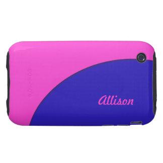 Bright Pink Blue Mod Retro iPhone 3 Tough Case