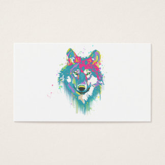 Bright Pink Blue Neon Watercolors Splatters Wolf Business Card