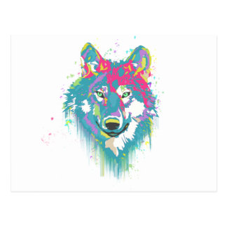 Bright Pink Blue Neon Watercolors Splatters Wolf Postcard