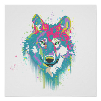 Bright Pink Blue Neon Watercolors Splatters Wolf Poster