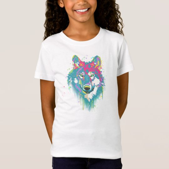Bright Pink Blue Neon Watercolors Splatters Wolf T-Shirt