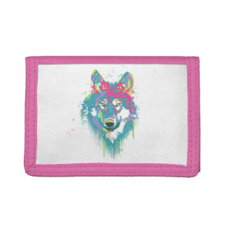 Bright Pink Blue Neon Watercolors Splatters Wolf Trifold Wallets