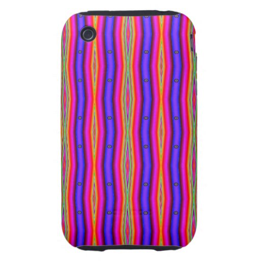 Bright pink blue stripes abstract iPhone 3 tough cover
