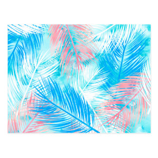 Bright  pink blue watercolor palmtree leaf pattern postcard