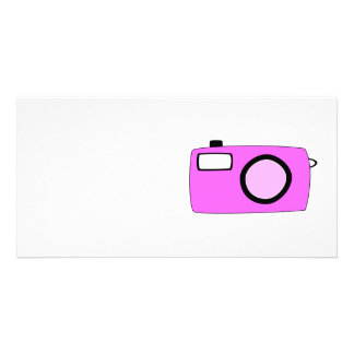 Bright Pink Camera On White Customized Photo Card