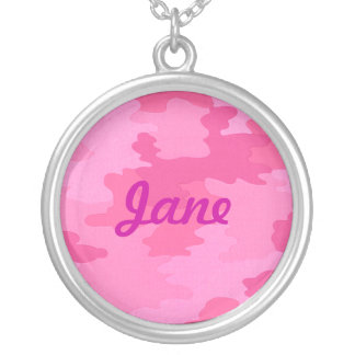 Bright Pink Camouflage Name Necklace