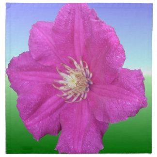 Bright Pink Clematis Flower Cloth Napkin