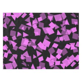Bright Pink Confetti on Black Tablecloth