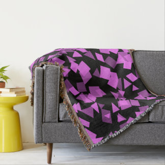 Bright Pink Confetti on Black Throw Blanket