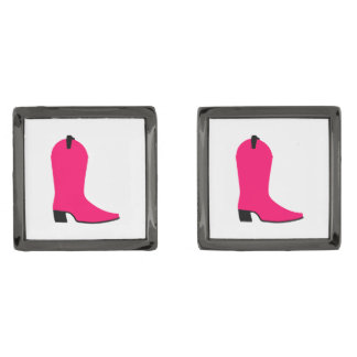 Bright Pink Cowboy Boot Gunmetal Finish Cufflinks
