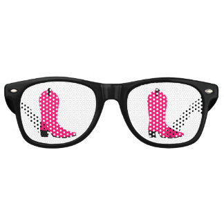 Bright Pink Cowboy Boot Retro Sunglasses