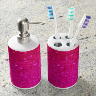 Bright pink Crystal Soap Dispenser And Toothbrush Holder