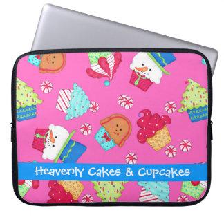 Bright Pink Cupcake Art Christmas Holiday Computer Sleeves