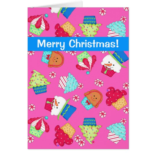 Bright Pink Cupcake Art Merry Christmas Card