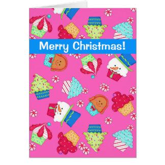 Bright Pink Cupcake Art Merry Christmas Greeting Card
