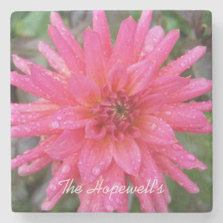 Bright Pink Dahlia Stone Coaster
