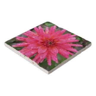 Bright Pink Dahlia Stone Trivet