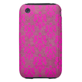 Bright Pink Damask Distressed iPhone 3 Tough Cover