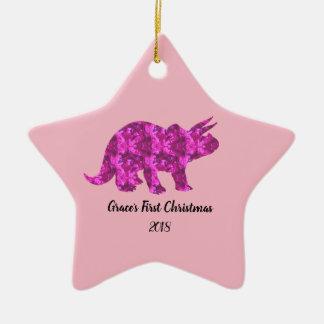 Bright Pink Dinosaur Christmas Ornament