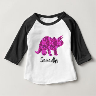 Bright Pink Dinosaur Personalized Girl Shirt