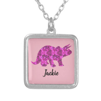 Bright Pink Dinosaur Personalized Pendant for Girl