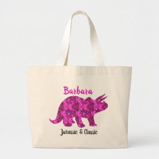 Bright Pink Dinosaur Personalized Tote Bag