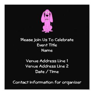 Bright Pink Dog. Hound Cartoon. 13 Cm X 13 Cm Square Invitation Card