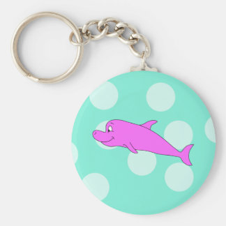 Bright Pink Dolphin. Basic Round Button Key Ring