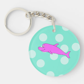 Bright Pink Dolphin. Double-Sided Round Acrylic Key Ring