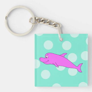 Bright Pink Dolphin. Single-Sided Square Acrylic Key Ring