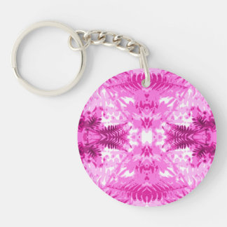 Bright Pink Fern Leaf Pattern Acrylic Keychains