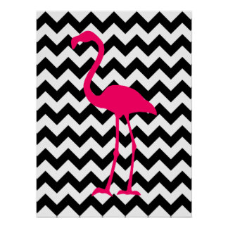 Bright Pink Flamingo Black and White Zigzag Poster