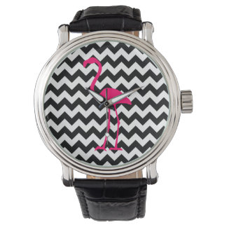 Bright Pink Flamingo Black and White Zigzag Watch