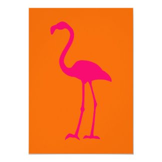 Bright Pink Flamingo on Orange 5x7 Paper Invitation Card