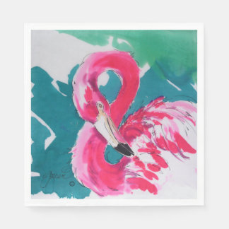 Bright Pink Flamingo Party Napkins Disposable Serviettes