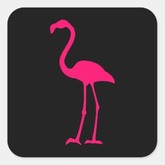 Bright Pink Flamingo Square Sticker