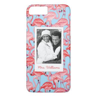 Bright Pink Flamingos | Add Your Photo & Name iPhone 8 Plus/7 Plus Case