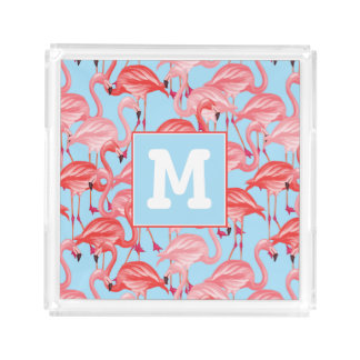 Bright Pink Flamingos On Blue | Add Your Initial Acrylic Tray