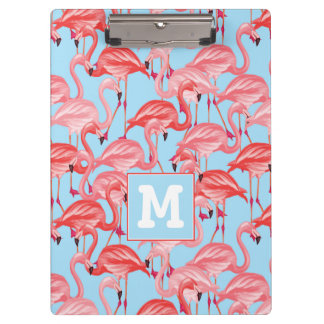 Bright Pink Flamingos On Blue | Add Your Initial Clipboard