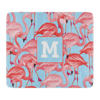 Bright Pink Flamingos On Blue | Add Your Initial Cutting Board