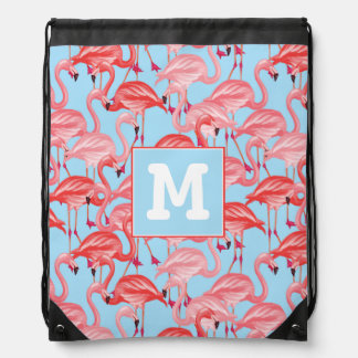 Bright Pink Flamingos On Blue | Add Your Initial Drawstring Bag