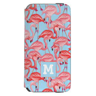 Bright Pink Flamingos On Blue | Add Your Initial Incipio Watson™ iPhone 6 Wallet Case
